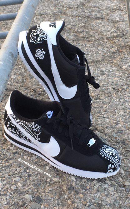 Black Bandana Custom Nike Cortez Shoes NBW Half Sides at BandanaFever.com