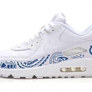 Indianapolis Colts Blue Bandana Custom Nike Air Max Shoes White by Bandana Fever