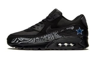 Dallas Cowboys Silver Bandana Custom Nike Air Max Shoes Black - Bandana Fever