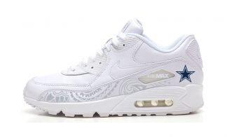 Dallas Cowboys Silver Bandana Custom Nike Air Max Shoes White at BandanaFever.com