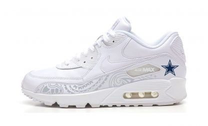 Dallas Cowboys Silver Bandana Custom Nike Air Max Shoes White at BandanaFever.com