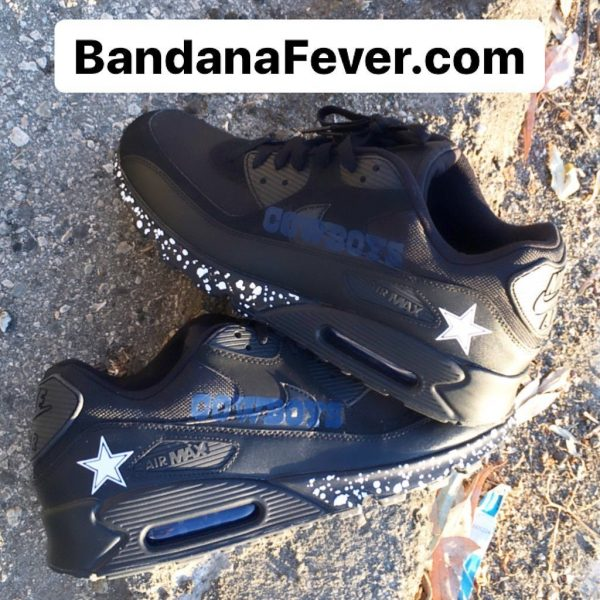 Dallas Cowboys Silver Splat Custom Nike Air Max 90 Shoes Black Stagger at BandanaFever.com