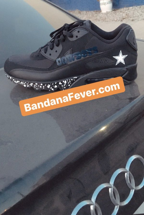 Dallas Cowboys White Splat Custom Nike Air Max Shoes Black Audi at BandanaFever.com