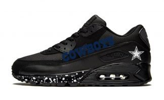 Dallas Cowboys White Splat Custom Nike Air Max Shoes Black by BandanaFever.com