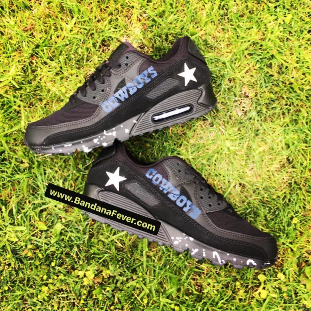 Dallas Cowboys White Splat Custom Nike Air Max Shoes Black Stagger by BandanaFever.com