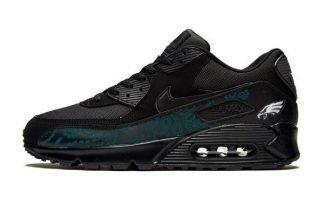 Philadelphia Eagles Green Bandana Custom Nike Air Max Shoes Black at BandanaFever.com