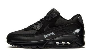 Philadelphia Eagles Silver Custom Nike Air Max Shoes Black at BandanaFever.com