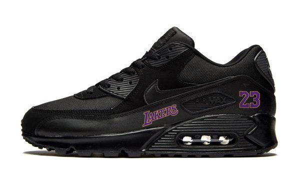 LA Lakers Lebron Custom Nike Air Max Shoes Black at BandanaFever.com