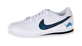 Detroit Lions Blue Bandana Custom Nike Cortez Shoes at BandanaFever.com
