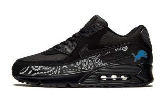 Detroit Lions Silver Bandana Custom Nike Air Max Shoes Black at BandanaFever.com