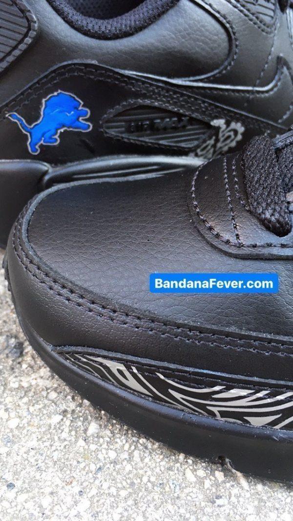 Detroit Lions Silver Bandana Custom Nike Air Max Shoes Black Closeup at BandanaFever.com