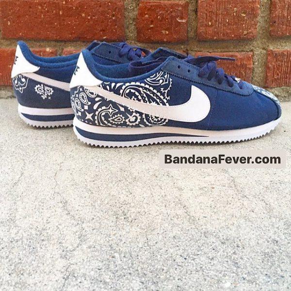 Navy Bandana Custom Nike Cortez Shoes NNW Half Pair at BandanaFever.com