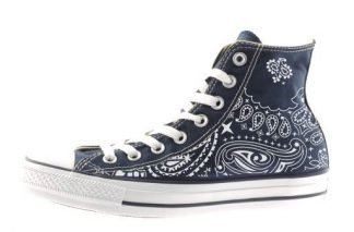 Navy Blue Bandana Custom Converse Shoes Navy Hi at BandanaFever.com