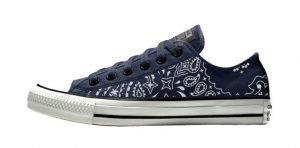 Navy Blue Bandana Custom Converse Shoes Navy/Black Low by BandanaFever.com
