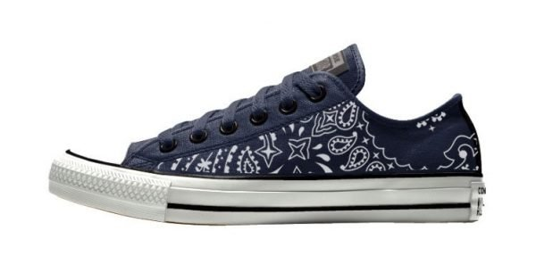 Navy Blue Bandana Custom Converse Shoes Navy/Black Low by BandanaFever.com
