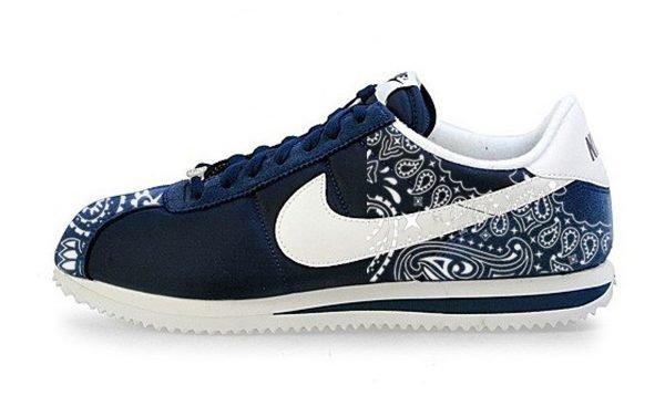 Navy Blue Bandana Custom Nike Cortez Shoes NNW Half by BandanaFever.com
