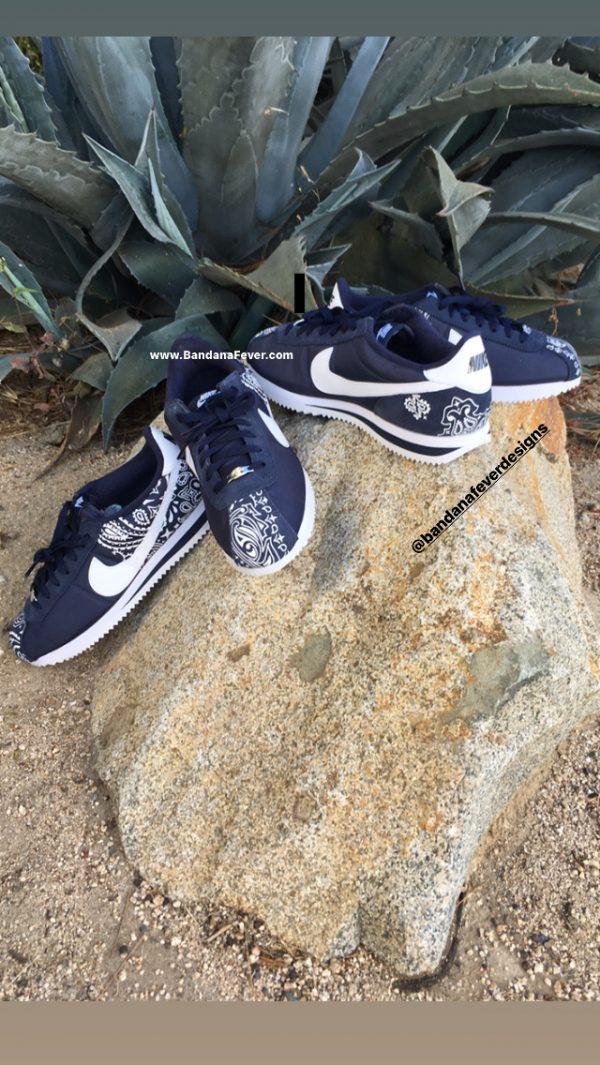 Navy Blue Bandana Custom Nike Cortez Shoes NNW Half Heels at BandanaFever.com