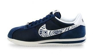 Navy Blue Bandana Custom Nike Cortez Shoes Swoosh at BandanaFever.com