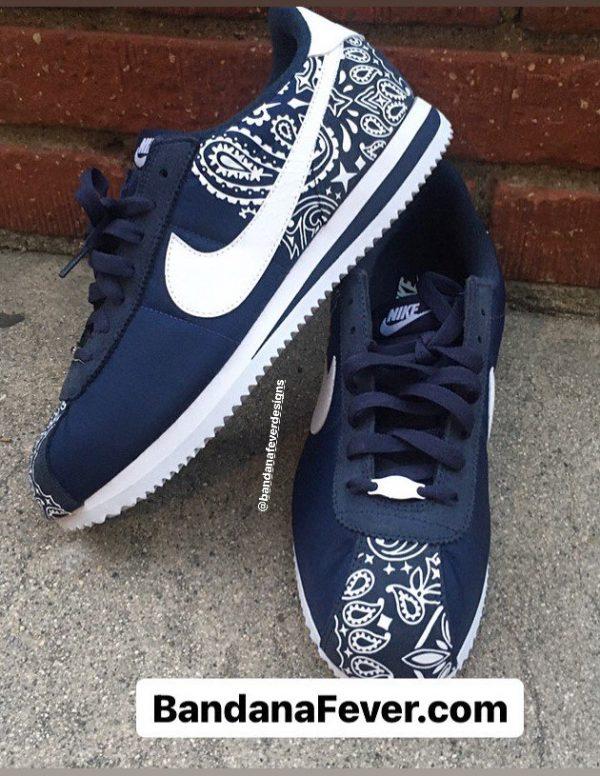 Navy Blue Bandana Custom Nike Cortez Shoes NNW Half Top at BandanaFever.com