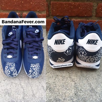 Navy Bandana Custom Nike Cortez Shoes NNW Half Toes Heels at BandanaFever.com