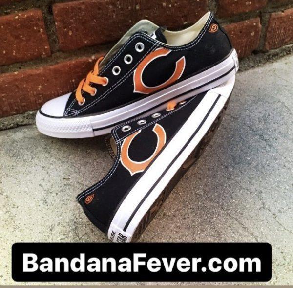Bandana Fever Chicago Bears Custom Converse Shoes Black Low at BandanaFever.com