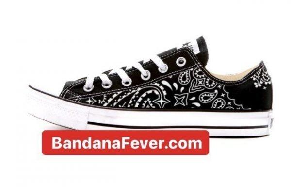 Bandana Fever Black Bandana Custom Converse Shoes Black Low at BandanaFever.com