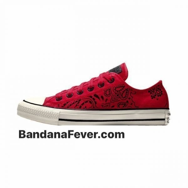 Bandana Fever Red Bandana Custom Converse Shoes Red/Off-White Low by BandanaFever.com