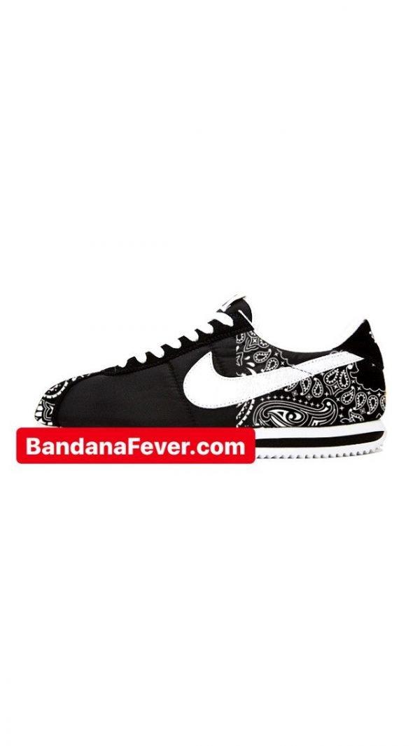 Bandana Fever Black Bandana Half Custom Nike Cortez Nylon Black/White