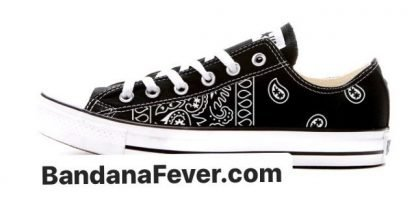 Bandana Fever Black Bandana Teardrops Custom Converse Shoes Black Low at BandanaFever.com