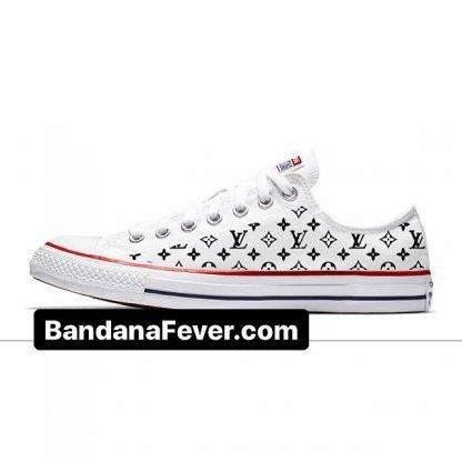 Bandana Fever Black Supreme LV Custom Converse Shoes White Low at BandanaFever.com
