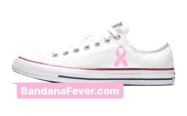 Bandana Fever Breast Cancer Awareness Custom Converse Shoes White Low by BandanaFever.com