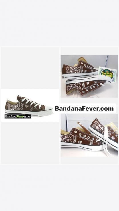 Bandana Fever Brown Bandana Custom Converse Shoes Brown Low on sale at BandanaFever.com