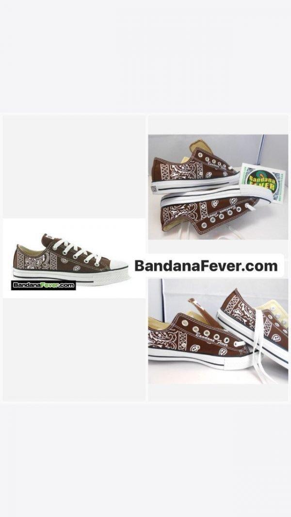Bandana Fever Brown Bandana Custom Converse Shoes Brown Low on sale at BandanaFever.com
