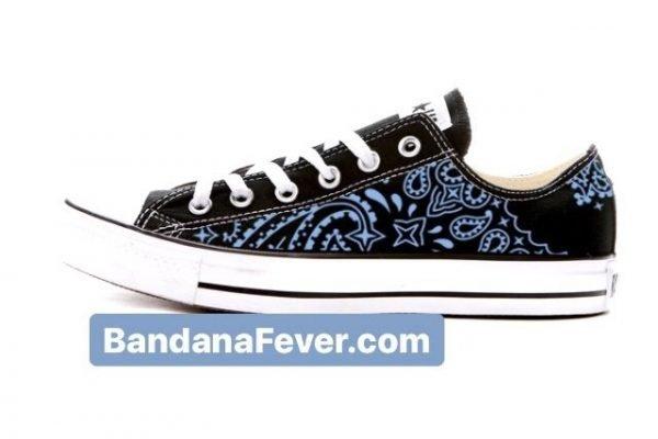 Bandana Fever Carolina Blue Bandana Custom Converse Shoes Black Low by BandanaFever.com