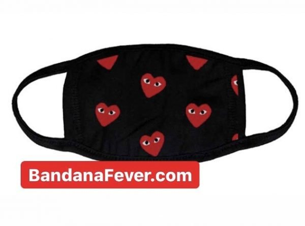 Bandana Fever CDG Play Mini Red Custom Face Mask at BandanaFever.com