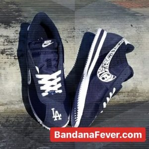 Bandana Fever LA Dodgers Navy Bandana Custom Nike Cortez Shoes Toes by BandanaFever.com