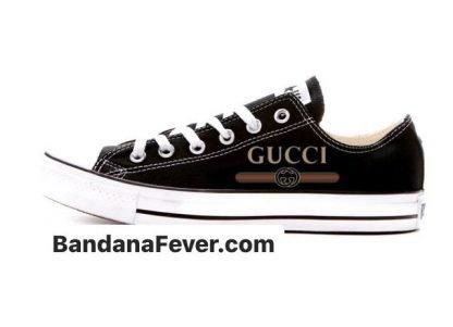 Bandana Fever Gucci Retro Custom Converse Shoes Black Low at BandanaFever.com