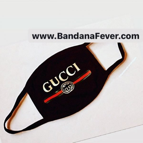 Bandana Fever Gucci Retro Custom Face Mask Black at BandanaFever.com