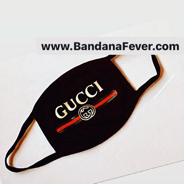 Bandana Fever Gucci Retro Custom Face Mask Black at BandanaFever.com