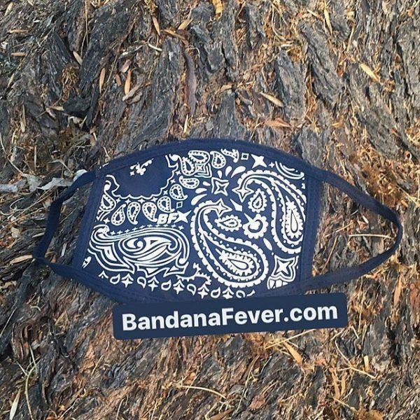 Bandana Fever Navy Blue Bandana Custom Face Mask Navy at BandanaFever.com