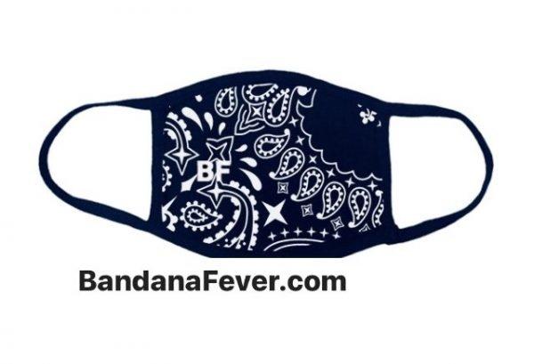 Bandana Fever Navy Blue Bandana Custom Face Mask by BandanaFever.com