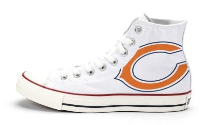 Chicago Bears Custom Converse Shoes White High at BandanaFever.com