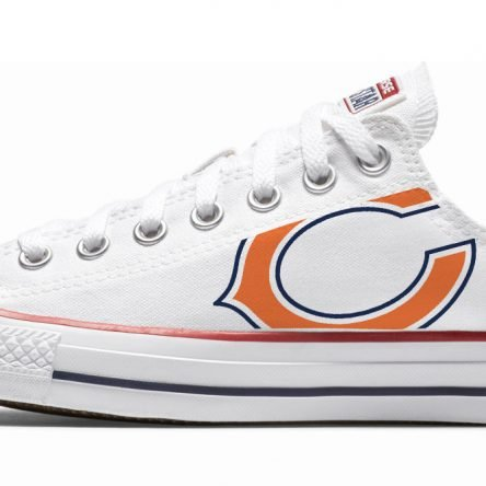 Chicago Bears Custom Converse Shoes White Low