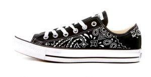 Black Bandana Custom Converse Shoes Black Low at BandanaFever.com