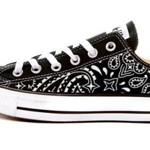 Black Bandana Custom Converse Shoes Black Low at BandanaFever.com