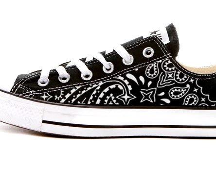 Black Bandana Custom Converse Shoes Black Low