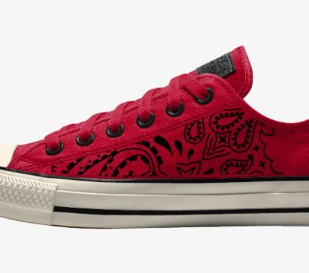 Red Bandana Custom Converse Shoes Red/Off-White Low