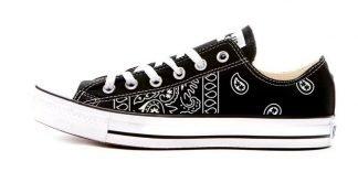 Black Bandana Teardrops Custom Converse Shoes Black Low at BandanaFever.com