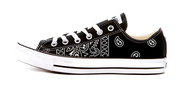 Black Bandana Teardrops Custom Converse Shoes Black Low by BandanaFever.com