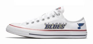 St Louis Blues Custom Converse Shoes White Low by BandanaFever.com
